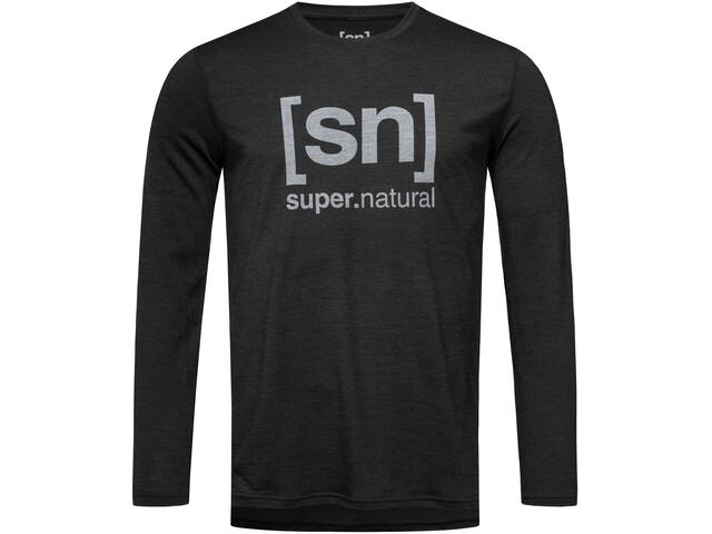 super.natural Essential I.D. Chemise Homme, jet black melange/vapor grey logo
